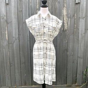 Temt Women White Printed Button Up Shirt Dress AU8